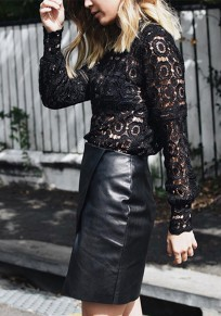 Black Lace Band Collar Long Sleeve Elegant Blouse