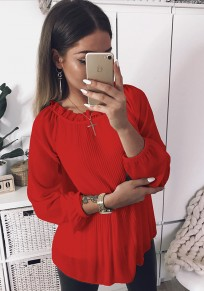 Red Pleated Petal Neck Long Sleeve Sweet Blouse