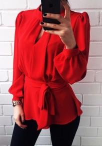 Chemisier en mousseline péplum dos nu manches longues mode femme blouse rouge