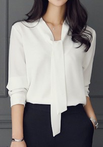 White Belt Round Neck Long Sleeve Elegant Work Blouse