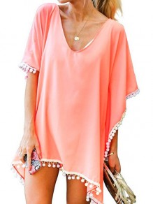 Pink Tassel V-neck Short Sleeve Beach Kimono Cover Up Blouse