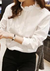 Weiß Einreiher Taschen Stehkragen Langarm Elegant Geschäft OL Bluse Top Oberteile Damen Mode