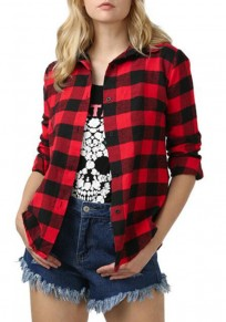 Red Plaid Single Breasted Turndown Collar Long Sleeve Fashion Casual Check Print Blouse
