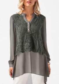 Grey Patchwork Lace Buttons V-neck Office Worker/Daily Blouse