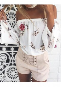 White Flowers Print Bandeau Off Shoulder Bell Sleeve Blouse