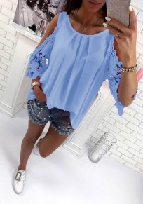 Blue Patchwork Cut Out Tie Back Round Neck Casual Blouse