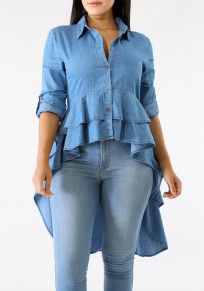 Blue Irregular Ruffle V-neck High-Low Peplum Office Worker/Daily Elegant Blouse