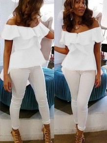 White Ruffle Irregular Slit Swallowtail Peplum Off Shoulder High-low Backless Elegant Blouse