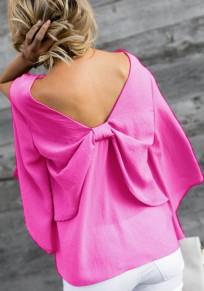 Rose Carmine Bow V-neck Long Sleeve Fashion Blouse