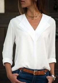 Weiße Knöpfen V-Ausschnitt Langarm Elegante Bluse Tops Oberteile Günstig Damen Mode