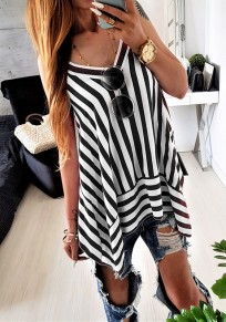 Black Striped Spaghetti Strap Draped Irregular V-neck Fashion Blouse