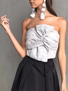 Grey Flowers Zipper Boat Neck Backless Bandeau Blouse