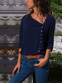 Blue Irregular Single Breasted Long Sleeve Casual Blouse