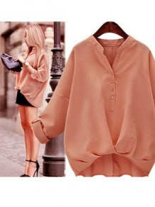 Pink Buttons Draped V-neck Long Sleeve Blouse