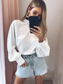 White Pleated Chiffon Long Sleeve Band Collar Fashion Blouse