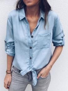 Light Blue Single Breasted Pockets Casual Blouse