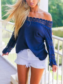Navy Blue Patchwork Lace Off Shoulder Backless Oversized Cute Blouse