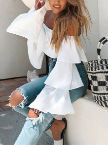 White Ruffle Long Sleeve Off Shoulder Backless Fashion Blouse
