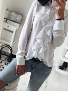 White Single Breasted Ruffle Long Sleeve Fashion Blouse