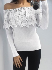 White Off Shoulder Lace Ruffle Long Sleeve Bodycon Elegant Casual T-Shirt