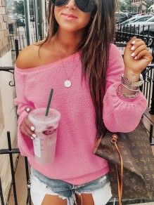 Pink Asymmetric Shoulder Long Sleeve Fashion Going out Blouse