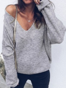 Grey Deep V-neck Slouchy Long Sleeve Casual Blouse