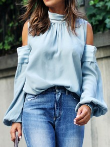 Blue Cut Out Pleated Backless Band Collar Long Sleeve Blouse