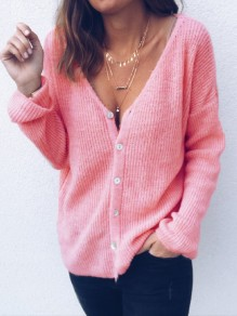 Pink Buttons V-neck Long Sleeve Fashion Going out Blouse