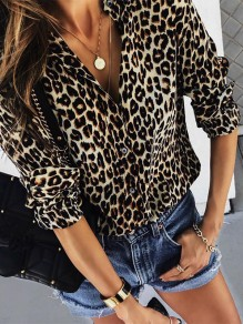 Black Leopard Buttons V-neck Fashion Blouse