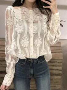 Apricot Lace Embroidery Irregular Off Shoulder Long Sleeve Sweet Blouse