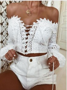 White Patchwork Lace Cut Out Drawstring Bohemian Off Shoulder Long Sleeve Blouse