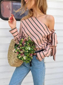 Pink Striped Asymmetric Shoulder Bow Long Sleeve Fashion Blouse