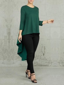 Green Pleated High-Low Round Neck Long Sleeve Swallowtail Formal Elegant Blouse