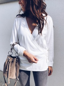 White Ruffle Sashes Irregular V-neck Long Sleeve Casual Blouse