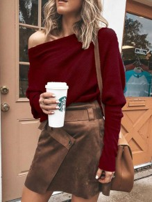 Wine Red Irregular Round Neck Long Sleeve Casual Blouse