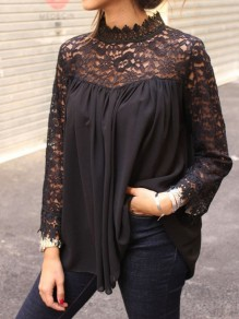 Black Patchwork Embroidery Lace Draped Band Collar Long Sleeve Blouse