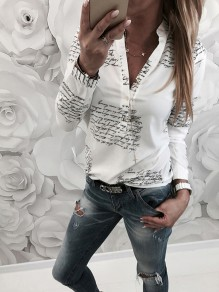 White Monogram Zipper V-neck Long Sleeve Fashion Blouse