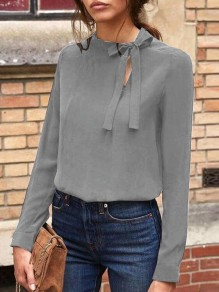 Grey Bow Cut Out Round Neck Long Sleeve Casual Blouse