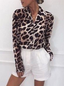 Leopard Buttons Turndown Collar Going out Casual Blouse
