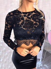 Black Lace Cut Out Round Neck Long Sleeve Fashion Blouse