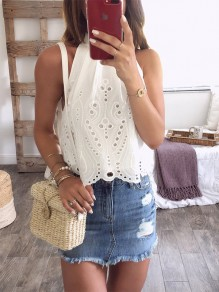 White Patchwork Cut Out Irregular Ribbons Sleeveless Fashion Blouse