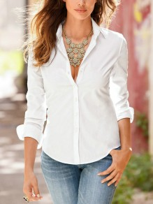 White Single Breasted Turndown Collar Long Sleeve Elegant Blouse