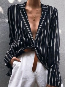 Black Striped Buttons Single Breasted Cut Out Tailored Collar Long Sleeve Fashion Blouse