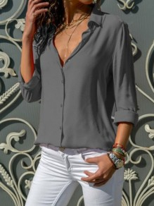 Grey Single Breasted Buttons Turndown Collar Long Sleeve Casual Blouse