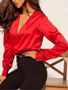 Red Buttons V-neck Long Sleeve Elegant Blouse