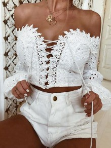 White Lace Cut Out Cross Strap V-neck Long Sleeve Fashion Blouse