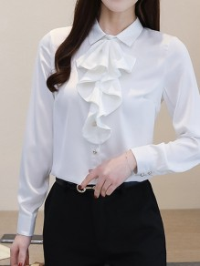 White Single Breasted Buttons Cascading Ruffle Peter Pan Collar Long Sleeve Elegant Blouse