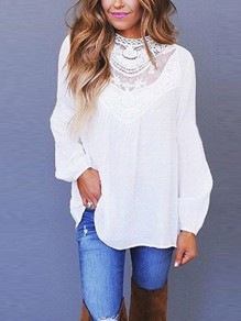 White Patchwork Lace Cut Out Grenadine Round Neck Long Sleeve Elegant Blouse