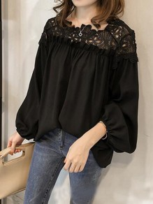 Black Patchwork Lace Cut Out Round Neck Long Sleeve Elegant Blouse
