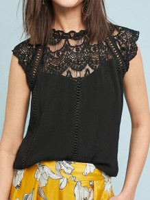 Black Patchwork Cut Out Lace Round Neck Elegant Blouse
